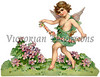 A vintage die-cut Valentine illustration of a cupid with a floral lei - circa 1888