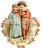 Vintage Valentine illustration of boy and girl friends, encircled by a floral heart - circa 1886