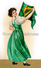 A 1907 vintage St. Patrick's Day illustration of an Irish maiden showing 'The Wearing of the Green'