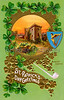 A vintage Saint Patrick's Day greeting card illustration with the famous Blarney Castle in Ireland - circa 1910