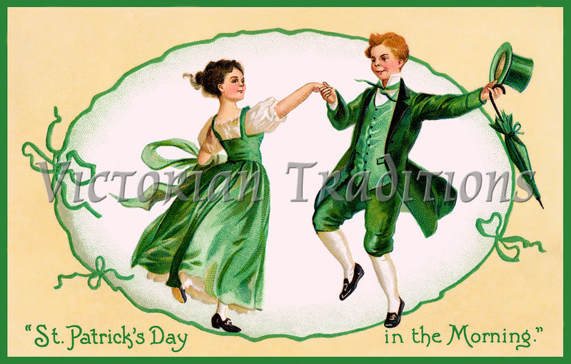 A vintage 1909 illustration of an Irish couple dancing - 'St Patrick's Day in the Morning'