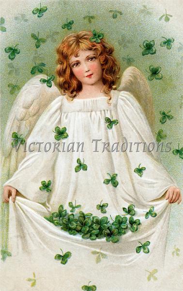 Shamrock Angel - A Vintage St. Patrick's Day greeting card illustration - circa 1909