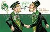 A Saint Patrick's Day greeting card illustration of two Irishman greeting each other with, ''The top O' the morning' to you'' - circa 1910