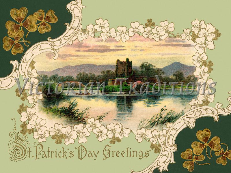 Ross Castle, Killarney, Ireland - an ornate 1913 St Patrick's Day greeting card illustration