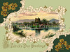 Ross Castle, Killarney, Ireland - an ornate 1913 St Patrick's Day greeting card illustration