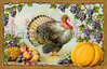 "Thanksgiving turkey and bountiful harvest, gilded gold frame - an ornate vintage illustration - circa 1910. Your purchased prints & downloads will NOT have the ""Victorian Traditions"" watermark. See our <a href=""http://www.OldPixels.com/"">Old Pictures</a> website for more vintage images."