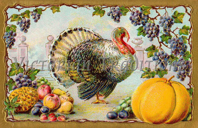 """Thanksgiving turkey and bountiful harvest, gilded gold frame - an ornate vintage illustration - circa 1910. Your purchased prints & downloads will NOT have the """"Victorian Traditions"""" watermark. See our <a href=""""http://www.OldPixels.com/"""">Old Pictures</a> website for more vintage images."""