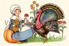 "First Thanksgiving - Pilgrim girl with a tom turkey - a circa 1910 vintage illustration. Your purchased prints & downloads will NOT have the ""Victorian Traditions"" watermark."