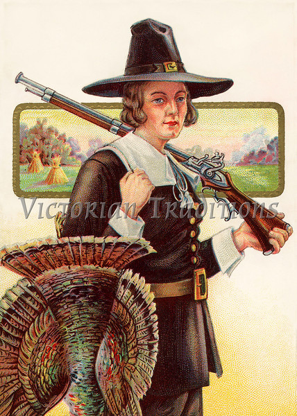 "First Thanksgiving - Pilgrim bringing home a tom turkey - a circa 1910 vintage illustration. Your purchased prints & downloads will NOT have the ""Victorian Traditions"" watermark."