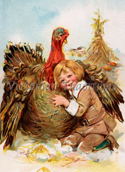 "Pilgrim Boy Hugging Thanksgiving Turkey - a 1911 vintage illustration. Your purchased prints & downloads will NOT have the ""Victorian Traditions"" watermark."