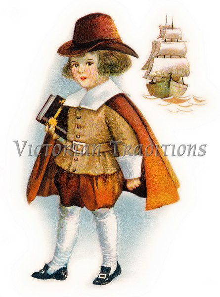 "First Thanksgiving Pilgrim child holding Bible, with Mayflower ship - a circa 1919 vintage illustration. Your purchased prints & downloads will NOT have the ""Victorian Traditions"" watermark."
