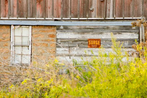 Surge Sign on Barn