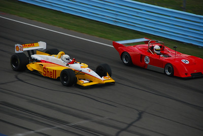 Bill Hart in the 1999 Lola Champcar and John Harrold in his 1976 Chevron B36 Dan Freudenburg Photo