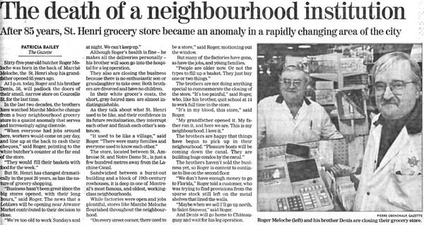 1999 Marche Meloche Article Gazette
