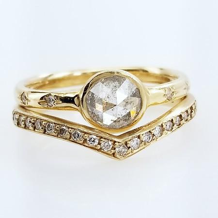 0.5ct Grey Rose Cut Diamond Wedding Set by Rebecca Overmann