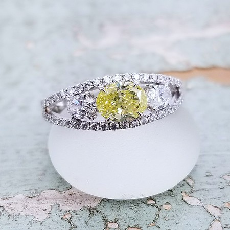 0.60ct Fancy Greenish Yellow Oval Diamond in Leon Mege Three Stone Pave Ring, GIA