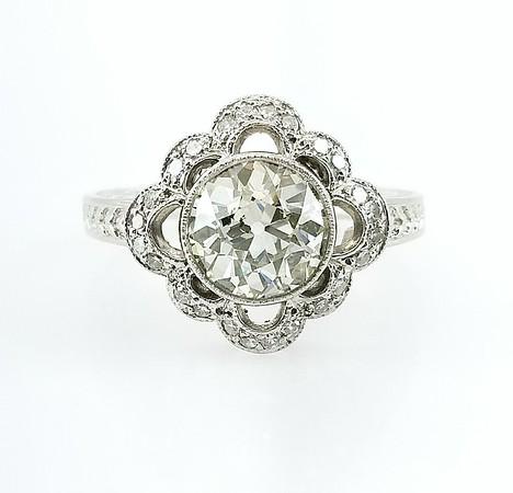 2.18ct Old European Cut Diamond Ring - U/V, I1