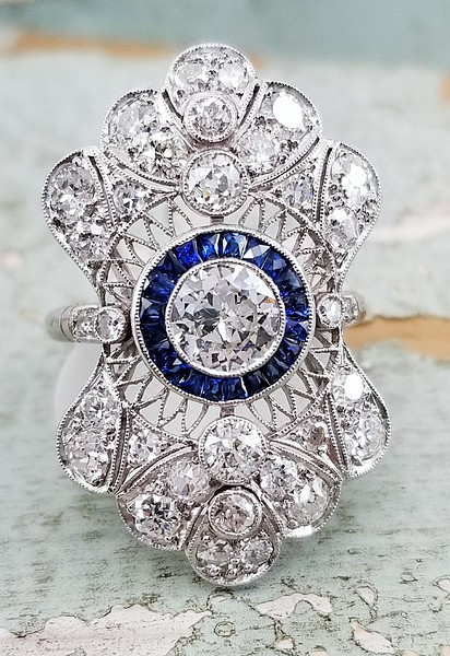 2ctw (est.) Old European Cut Diamond and Sapphire Cocktail Ring