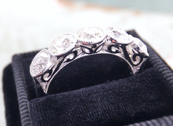 2.25ctw (est) Old European Cut Diamond Five Stone Band by CvB