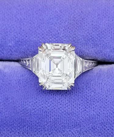 3.65ct Vintage Emerald Cut Diamond in CvB Solitaire - GIA I, VVS2
