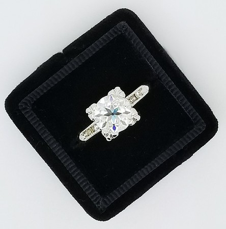 7.5mm Old European Cut Moissanite in Vintage Solitaire