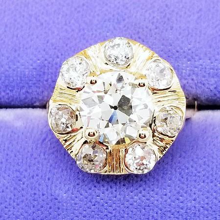 Antique Cluster Ring - 2.01ct OEC Diamond Center, Est. M/N, VS