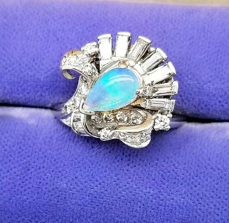 Opal and Diamond Spray Ring