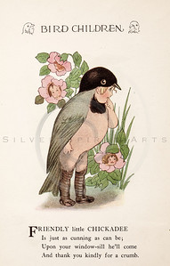 Vintage 1900s Color Illustration of Chickadee Bird Children from BIRD CHILDREN by Elizabeth Gorden.  The natural patina, age-toning, imperfections, and old paper antiquing of this vintage 20th century illustration are preserved in this image.
