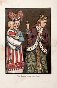 Vintage 1800s Color Chromolithograph Illustration of a Prince with the Queen from THE FAIRY BOOK by John Halifax.  The natural patina, age-toning, imperfections, and old paper antiquing of this vintage 19th century illustration are preserved in this image.