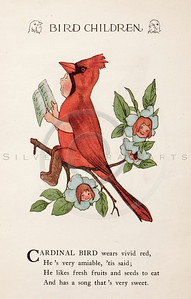 Vintage 1900s Color Illustration of Cardinal Bird Children from BIRD CHILDREN by Elizabeth Gorden.  The natural patina, age-toning, imperfections, and old paper antiquing of this vintage 20th century illustration are preserved in this image.