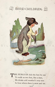 Vintage 1900s Color Illustration of Penguin Bird Children from BIRD CHILDREN by Elizabeth Gorden.  The natural patina, age-toning, imperfections, and old paper antiquing of this vintage 20th century illustration are preserved in this image.