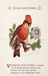 Vintage 1900s Color Illustration of Flycatcher Bird Children from BIRD CHILDREN by Elizabeth Gorden.  The natural patina, age-toning, imperfections, and old paper antiquing of this vintage 20th century illustration are preserved in this image.