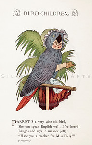 Vintage 1900s Color Illustration of Parrot Bird Children from BIRD CHILDREN by Elizabeth Gorden.  The natural patina, age-toning, imperfections, and old paper antiquing of this vintage 20th century illustration are preserved in this image.