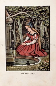 Vintage 1800s Color Chromolithograph Illustration of the Frog Prince with Princess from THE FAIRY BOOK by John Halifax.  The natural patina, age-toning, imperfections, and old paper antiquing of this vintage 19th century illustration are preserved in this image.