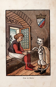 Vintage 1800s Color Chromolithograph Illustration of Puss in Boots from THE FAIRY BOOK by John Halifax.  The natural patina, age-toning, imperfections, and old paper antiquing of this vintage 19th century illustration are preserved in this image.