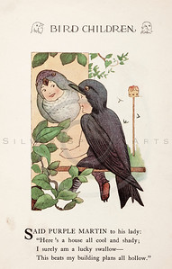 Vintage 1900s Color Illustration of Purple Martin Bird Children from BIRD CHILDREN by Elizabeth Gorden.  The natural patina, age-toning, imperfections, and old paper antiquing of this vintage 20th century illustration are preserved in this image.
