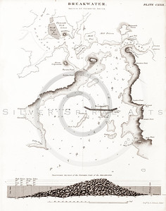 Vintage 1800s Steel Engraving Steampunk Breakwater Map Print from from THE ENCYCLOPEDIA BRITANNICA.  The natural patina, age-toning, imperfections, and old paper antiquing of this vintage 19th century illustration are preserved in this image.