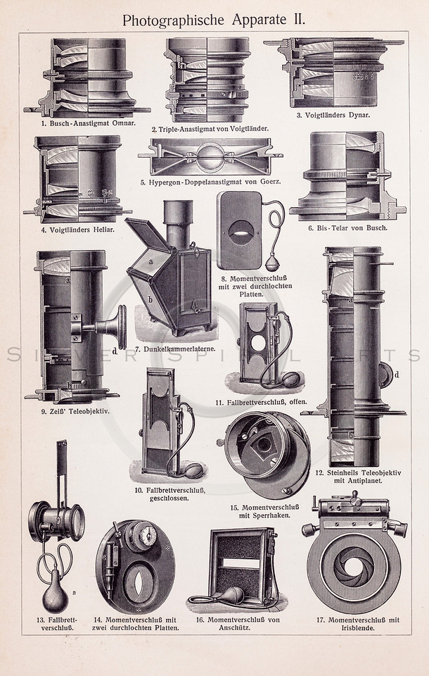 Vintage illustration of Photography Equipment from Meyers Konversations Lexikon 1913 Encyclopedia.  Antique digital download of old print - photography; photo; film; camera; equipment; mechanical; steampunk.  The natural age-toning, paper stains, and antique printing imperfections are preserved in this 1900s stock image.