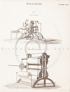 Vintage 1800s Steel Engraving Illustration of Steampunk Bleaching and Stiffening Machines from THE ENCYCLOPEDIA BRITANNICA.  The natural patina, age-toning, imperfections, and old paper antiquing of this vintage 19th century illustration are preserved in this image.