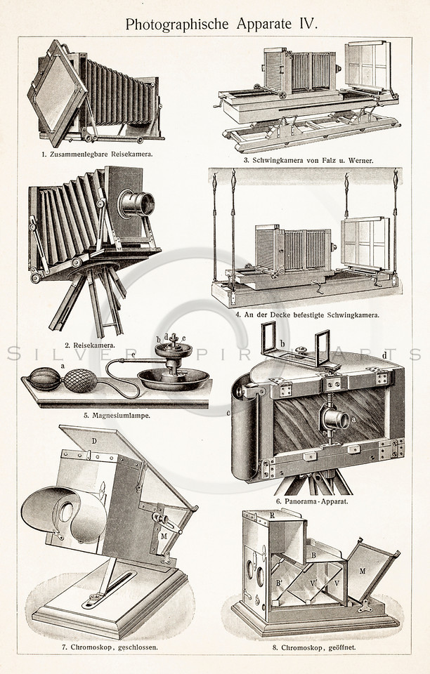 Vintage illustration of Photography Equipment from Meyers Konversations Lexikon 1913 Encyclopedia.  Antique digital download of old print - photography; camera; photo; film; mechnical; steampunk; machine; machinery; tool; household; equipment.  The natural age-toning, paper stains, and antique printing imperfections are preserved in this 1900s stock image.