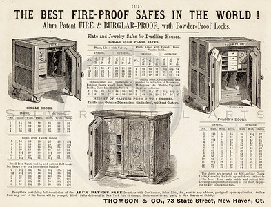 Vintage 1800s Sepia Illustration of a Fire-Proof Safe advertisement print from ILLUSTRATED CATALOGUE OF CARRIAGES.  The natural patina, age-toning, imperfections, and old paper antiquing of this vintage 19th century illustration are preserved in this image.