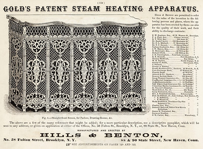 Vintage 1800s Sepia Illustration of a Heating System advertisement print from ILLUSTRATED CATALOGUE OF CARRIAGES.  The natural patina, age-toning, imperfections, and old paper antiquing of this vintage 19th century illustration are preserved in this image.