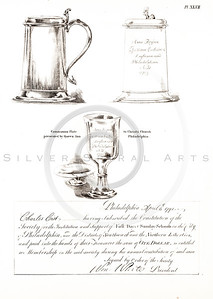 Vintage 1800s Sepia Illustration of a Communion Plate - AMERICAN HISTORICAL & LITERARY CURIOSITIES by J.J. Smith.
