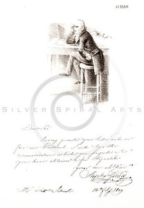 Vintage 1800s Sepia Illustration of a Man Sitting at a Desk - AM