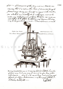 Vintage 1800s Sepia Illustration of a Model Steam Engine - AMERICAN HISTORICAL & LITERARY CURIOSITIES by J.J. Smith.