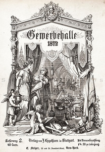 Vintage 1800s Sepia Illustration of the Cover to GEWERBEHALLE by Willhelm Baumer.  The natural patina, age-toning, imperfections, and old paper antiquing of this vintage 19th century illustration are preserved in this image.