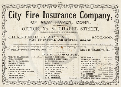 Vintage 1800s Sepia Illustration of a Fire Insurance advertisement print from ILLUSTRATED CATALOGUE OF CARRIAGES.  The natural patina, age-toning, imperfections, and old paper antiquing of this vintage 19th century illustration are preserved in this image.