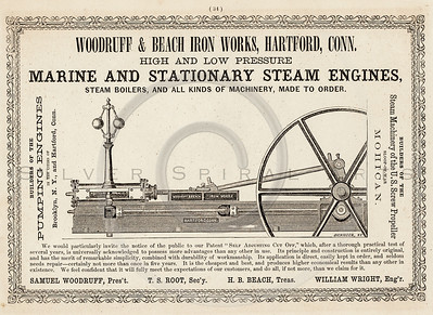 Vintage 1800s Sepia Illustration of a Steam Engine advertisement print from ILLUSTRATED CATALOGUE OF CARRIAGES.  The natural patina, age-toning, imperfections, and old paper antiquing of this vintage 19th century illustration are preserved in this image.