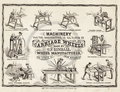 Vintage 1800s Sepia Illustration of a Wheel Manufacturer advertisement print from ILLUSTRATED CATALOGUE OF CARRIAGES.  The natural patina, age-toning, imperfections, and old paper antiquing of this vintage 19th century illustration are preserved in this image.