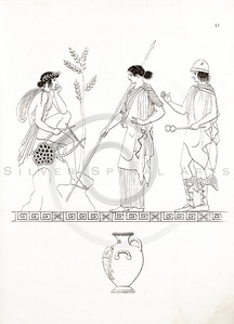 Vintage 1800s Sepia Illustration of Ancient Greek Men and Women.